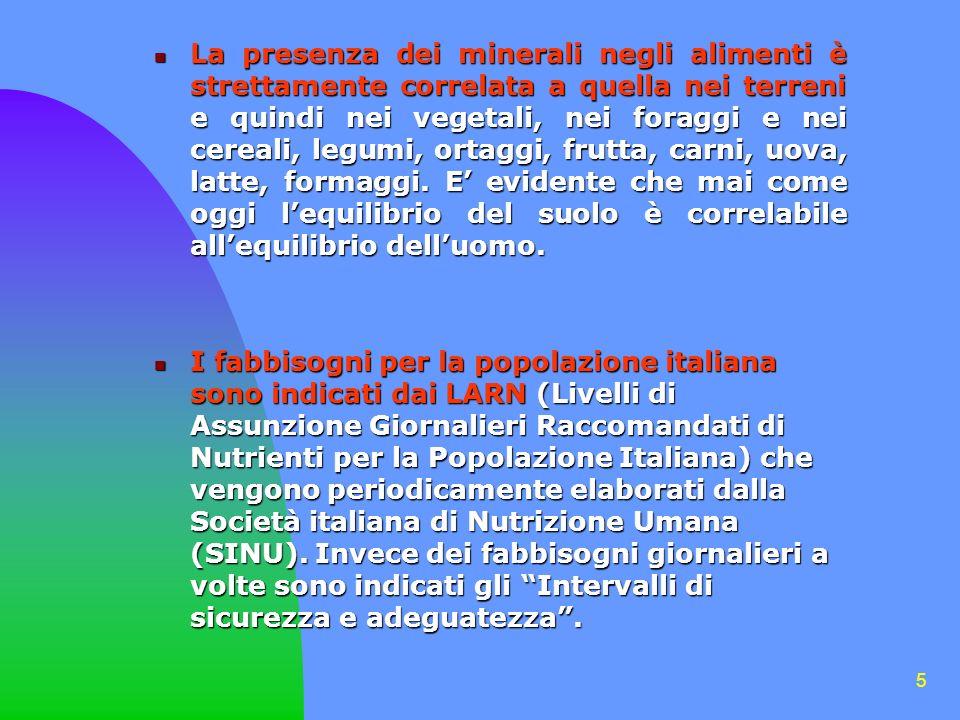 5 La presenza dei minerali negli alimenti è strettamente correlata a quella nei terreni e quindi nei vegetali, nei foraggi e nei cereali, legumi, ortaggi, frutta, carni, uova, latte, formaggi.