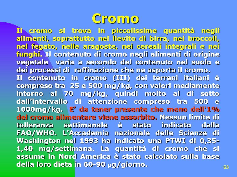 53 Cromo Il cromo si trova in piccolissime quantità negli alimenti, soprattutto nel lievito di birra, nei broccoli, nel fegato, nelle aragoste, nei cereali integrali e nei funghi.