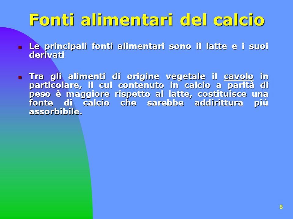 8 Le principali fonti alimentari sono il latte e i suoi derivati Le principali fonti alimentari sono il latte e i suoi derivati Tra gli alimenti di or