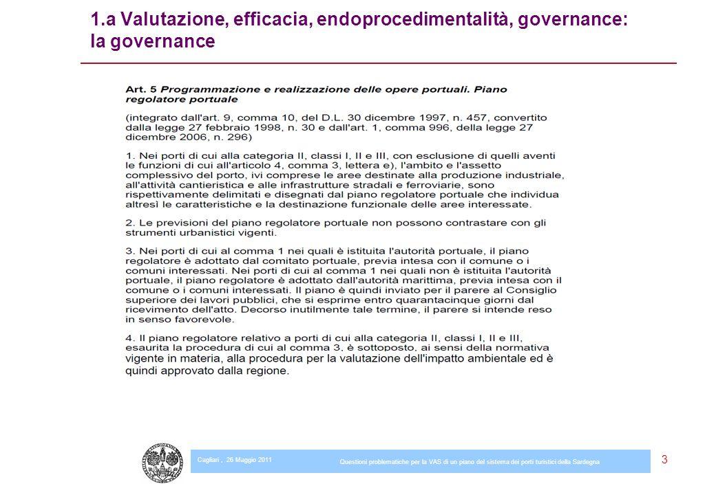 Cagliari, 26 Maggio 2011 Questioni problematiche per la VAS di un piano del sistema dei porti turistici della Sardegna 3 1.a Valutazione, efficacia, endoprocedimentalità, governance: la governance