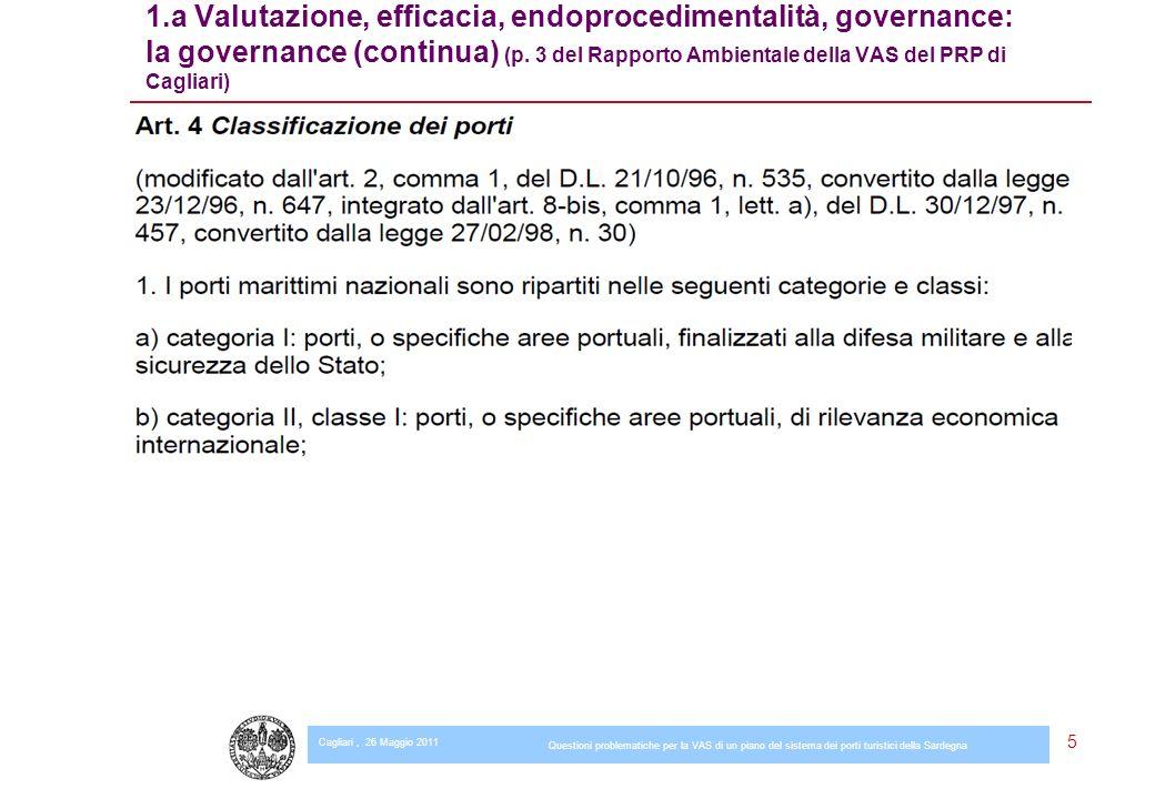 Cagliari, 26 Maggio 2011 Questioni problematiche per la VAS di un piano del sistema dei porti turistici della Sardegna 6 1.a Valutazione, efficacia, endoprocedimentalità, governance: la governance (continua) (p.
