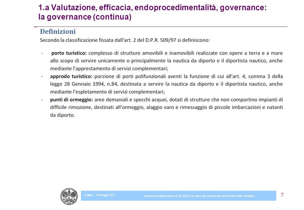 Cagliari, 26 Maggio 2011 Questioni problematiche per la VAS di un piano del sistema dei porti turistici della Sardegna 7 1.a Valutazione, efficacia, endoprocedimentalità, governance: la governance (continua)