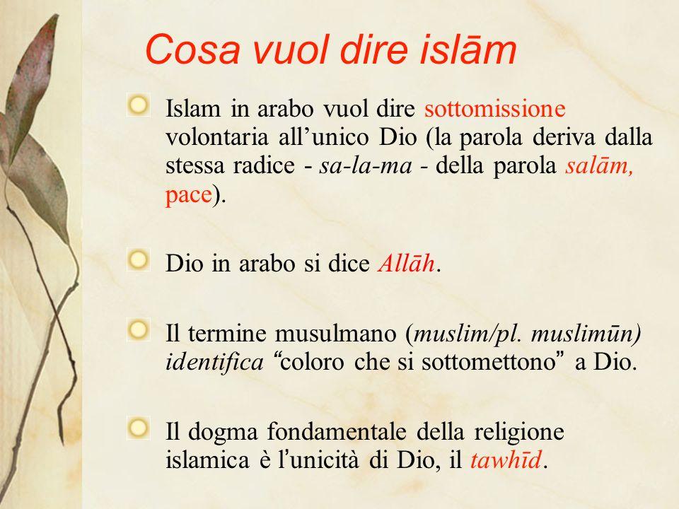 Cosa vuol dire islām Islam in arabo vuol dire sottomissione volontaria allunico Dio (la parola deriva dalla stessa radice - sa-la-ma - della parola salām, pace).