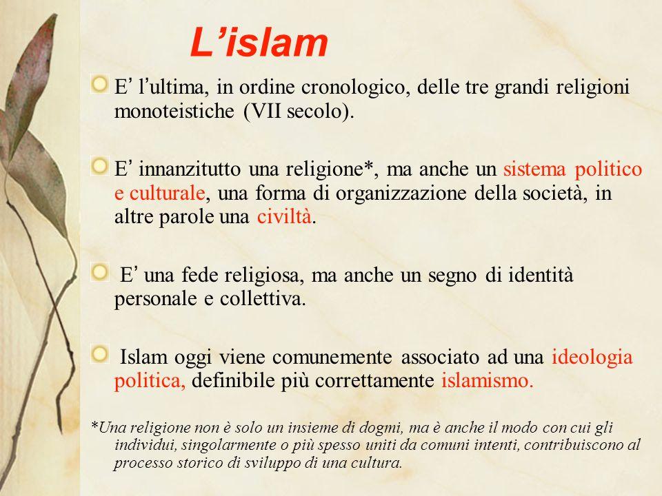 Lislam E lultima, in ordine cronologico, delle tre grandi religioni monoteistiche (VII secolo).