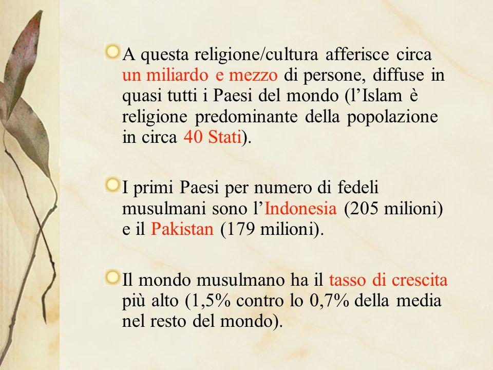 A questa religione/cultura afferisce circa un miliardo e mezzo di persone, diffuse in quasi tutti i Paesi del mondo (lIslam è religione predominante della popolazione in circa 40 Stati).