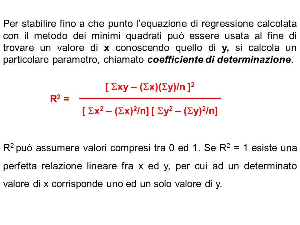 Per stabilire fino a che punto lequazione di regressione calcolata con il metodo dei minimi quadrati può essere usata al fine di trovare un valore di x conoscendo quello di y, si calcola un particolare parametro, chiamato coefficiente di determinazione.