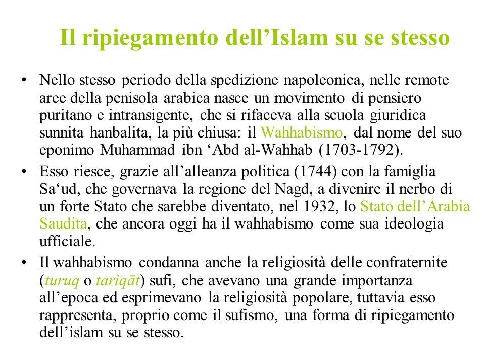 Il ripiegamento dellIslam su se stesso Nello stesso periodo della spedizione napoleonica, nelle remote aree della penisola arabica nasce un movimento