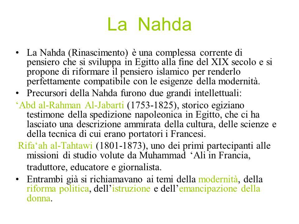 La Nahda La Nahda (Rinascimento) è una complessa corrente di pensiero che si sviluppa in Egitto alla fine del XIX secolo e si propone di riformare il