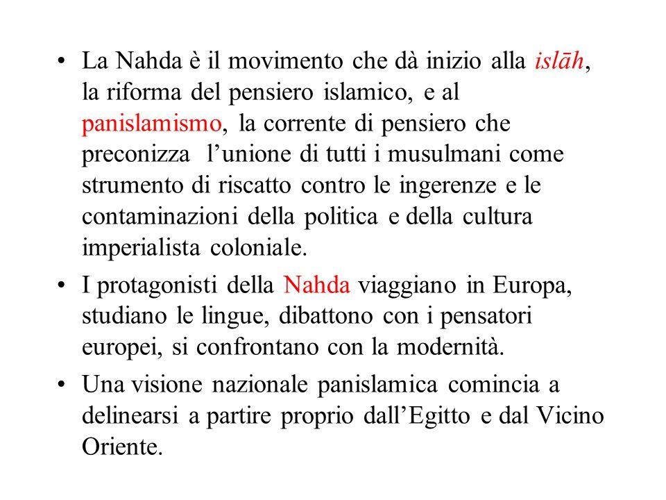 La Nahda è il movimento che dà inizio alla islāh, la riforma del pensiero islamico, e al panislamismo, la corrente di pensiero che preconizza lunione