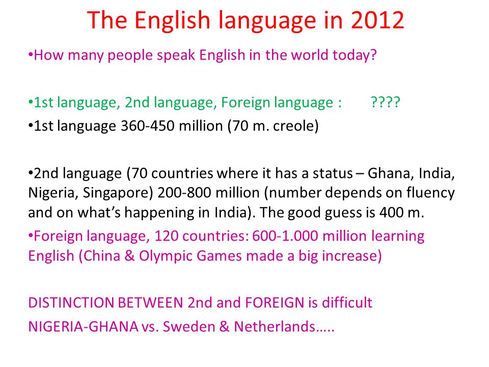 The English language in 2012 How many people speak English in the world today? 1st language, 2nd language, Foreign language :???? 1st language 360-450