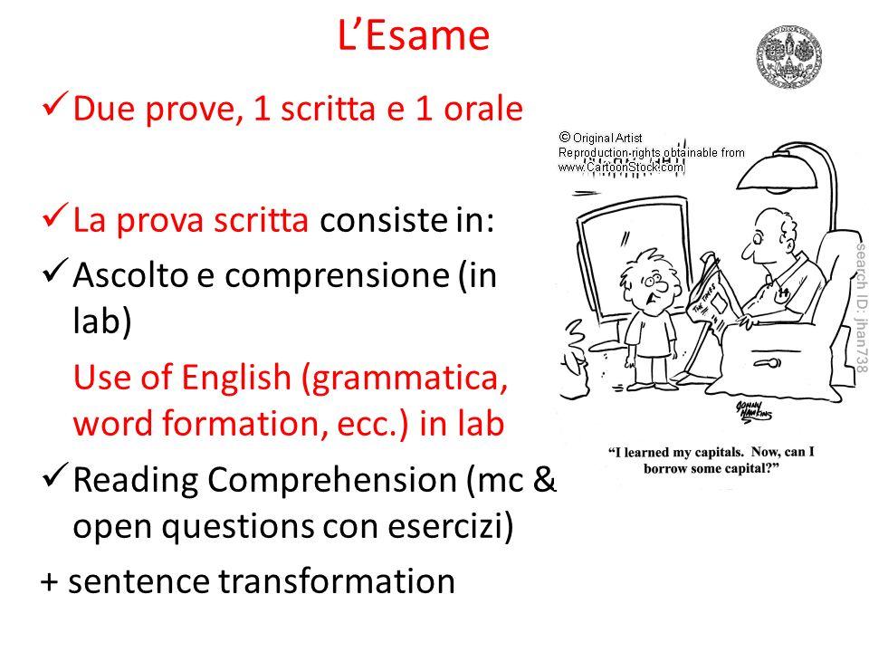 LEsame Due prove, 1 scritta e 1 orale La prova orale consiste in: Conversazione su argomenti generali Teoria linguistica (programma svolto dal docente)