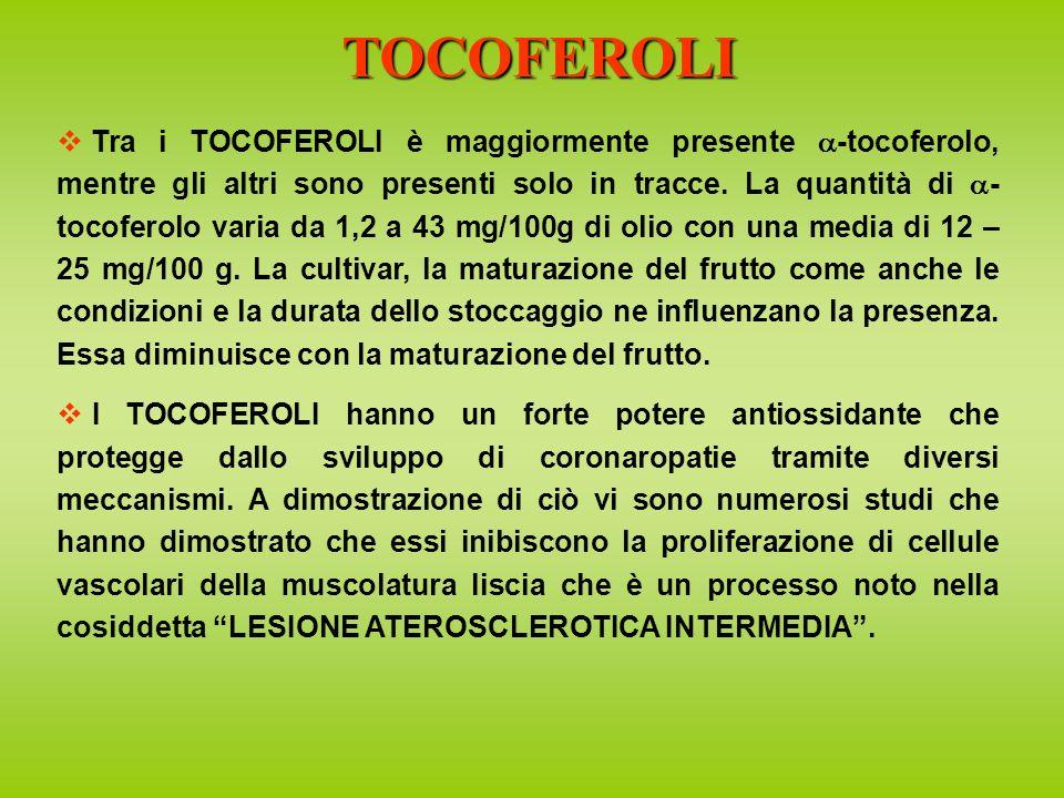 Tra i TOCOFEROLI è maggiormente presente -tocoferolo, mentre gli altri sono presenti solo in tracce.