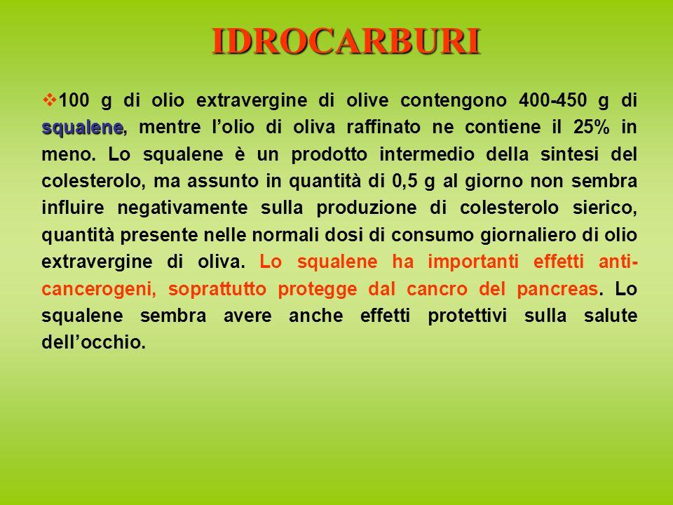 squalene 100 g di olio extravergine di olive contengono 400-450 g di squalene, mentre lolio di oliva raffinato ne contiene il 25% in meno.