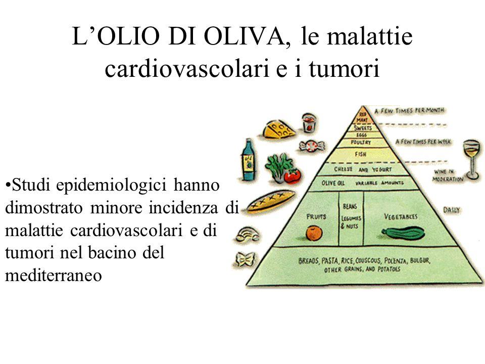 LOLIO DI OLIVA, le malattie cardiovascolari e i tumori Studi epidemiologici hanno dimostrato minore incidenza di malattie cardiovascolari e di tumori nel bacino del mediterraneo