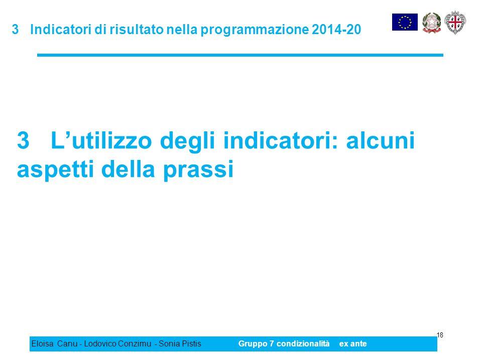 3 Indicatori di risultato nella programmazione 2014-20 18 Eloisa Canu - Lodovico Conzimu - Sonia PistisGruppo 7 condizionalità ex ante 3 Lutilizzo deg