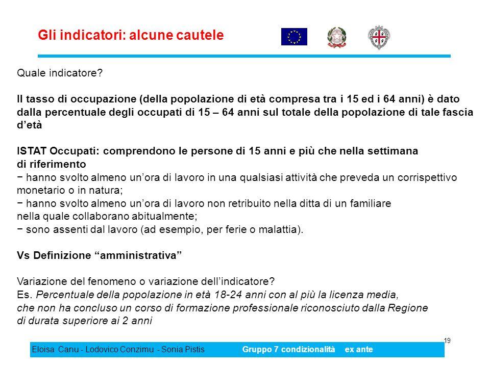 Gli indicatori: alcune cautele 19 Eloisa Canu - Lodovico Conzimu - Sonia PistisGruppo 7 condizionalità ex ante Quale indicatore? Il tasso di occupazio