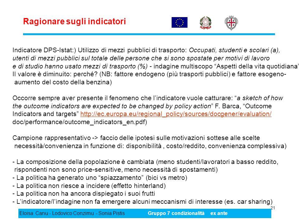 Ragionare sugli indicatori 21 Eloisa Canu - Lodovico Conzimu - Sonia PistisGruppo 7 condizionalità ex ante Indicatore DPS-Istat:) Utilizzo di mezzi pu
