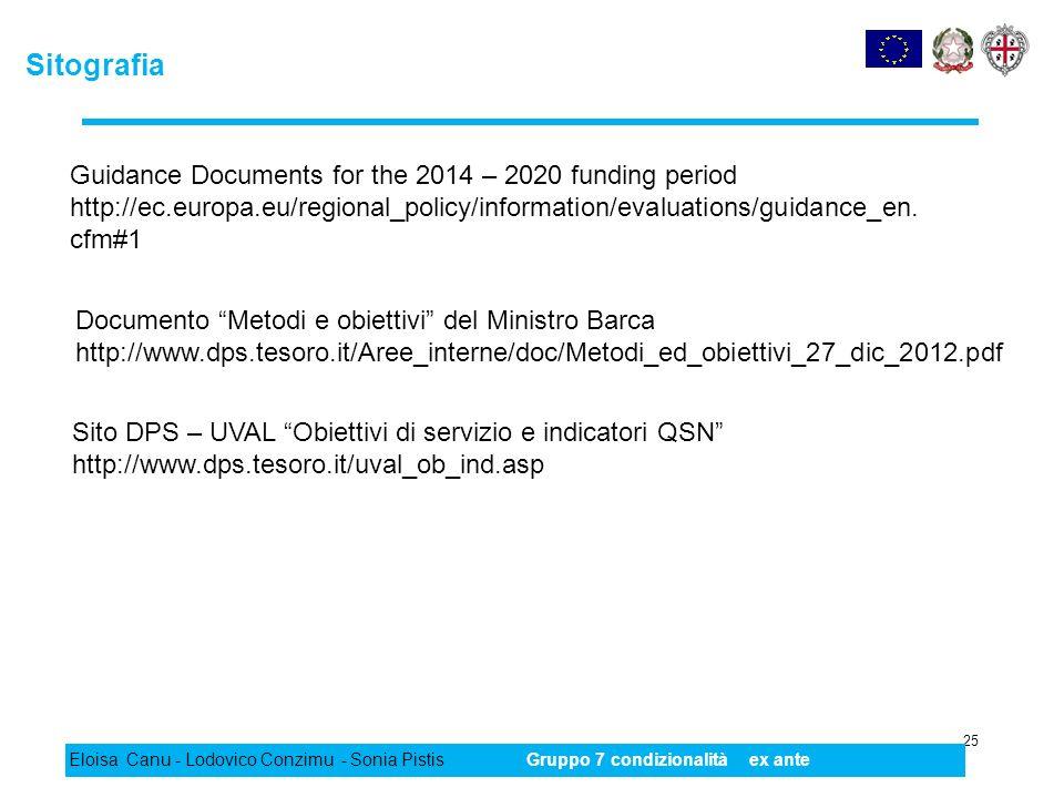 Sitografia 25 Eloisa Canu - Lodovico Conzimu - Sonia PistisGruppo 7 condizionalità ex ante Documento Metodi e obiettivi del Ministro Barca http://www.