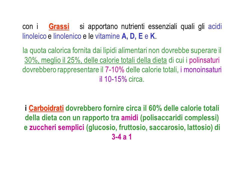 Grassi con i Grassi si apportano nutrienti essenziali quali gli acidi linoleico e linolenico e le vitamine A, D, E e K. la quota calorica fornita dai