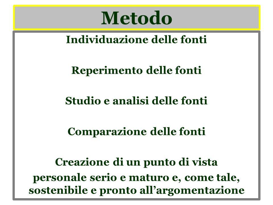 Metodo Individuazione delle fonti Reperimento delle fonti Studio e analisi delle fonti Comparazione delle fonti Creazione di un punto di vista persona
