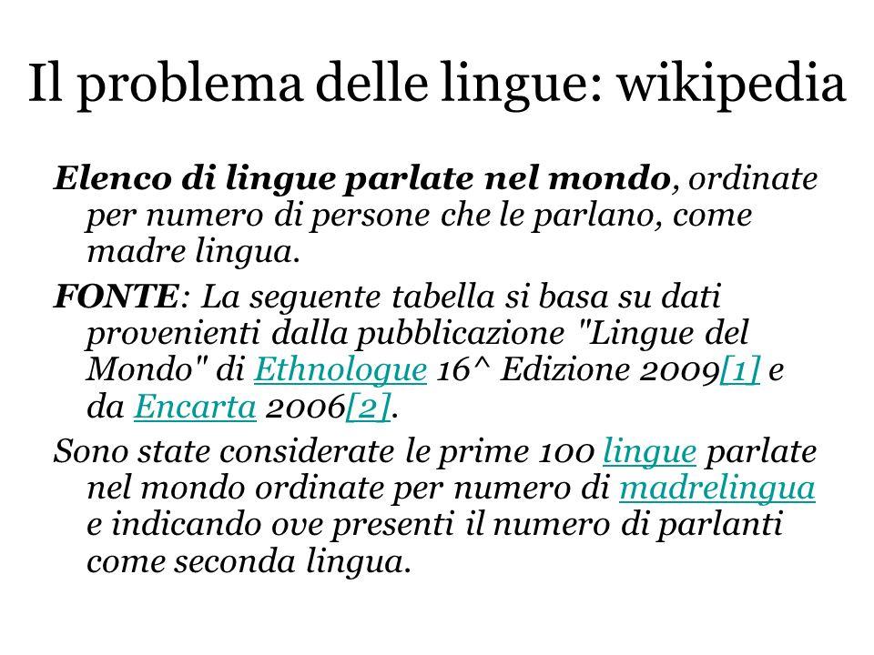 Il problema delle lingue: wikipedia Elenco di lingue parlate nel mondo, ordinate per numero di persone che le parlano, come madre lingua. FONTE: La se