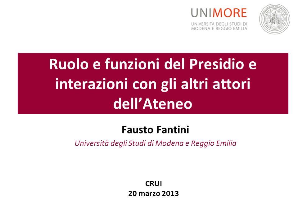 Ruolo e funzioni del Presidio e interazioni con gli altri attori dellAteneo Fausto Fantini Università degli Studi di Modena e Reggio Emilia CRUI 20 ma