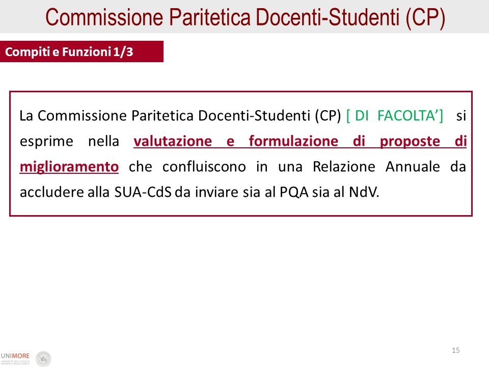 15 Commissione Paritetica Docenti-Studenti (CP) Compiti e Funzioni 1/3 La Commissione Paritetica Docenti-Studenti (CP) [ DI FACOLTA] si esprime nella