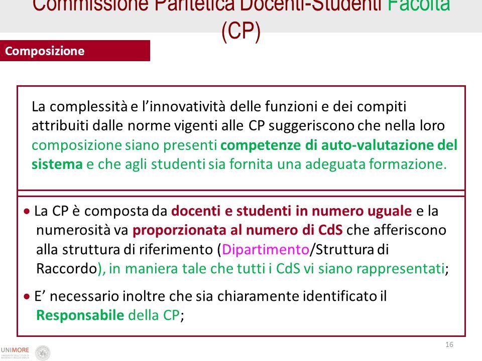 16 Commissione Paritetica Docenti-Studenti Facoltà (CP) Composizione La CP è composta da docenti e studenti in numero uguale e la numerosità va propor