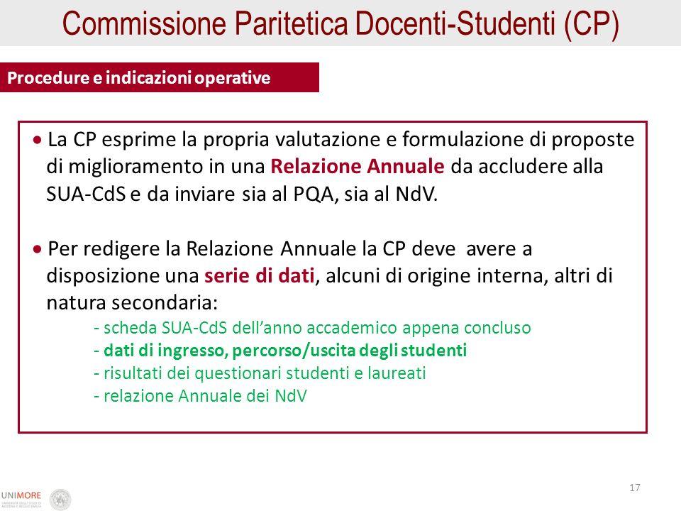 17 Commissione Paritetica Docenti-Studenti (CP) Procedure e indicazioni operative La CP esprime la propria valutazione e formulazione di proposte di m