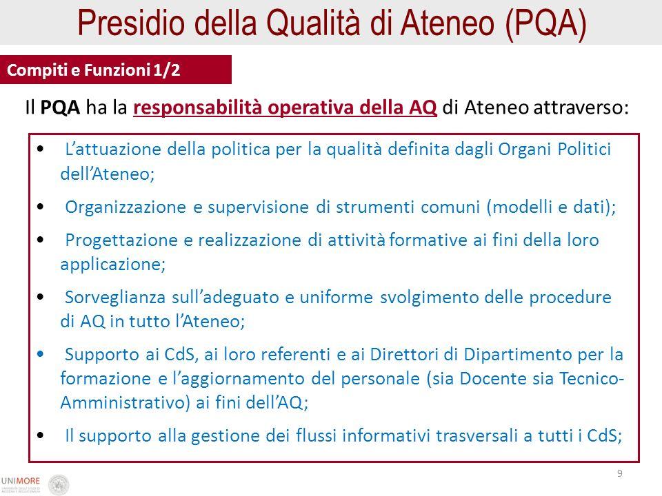 9 Compiti e Funzioni 1/2 Lattuazione della politica per la qualità definita dagli Organi Politici dellAteneo; Organizzazione e supervisione di strumen