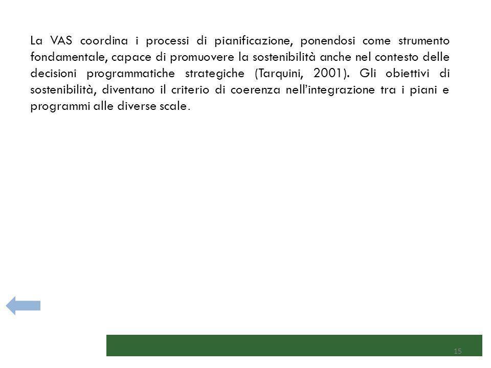 La VAS coordina i processi di pianificazione, ponendosi come strumento fondamentale, capace di promuovere la sostenibilità anche nel contesto delle decisioni programmatiche strategiche (Tarquini, 2001).