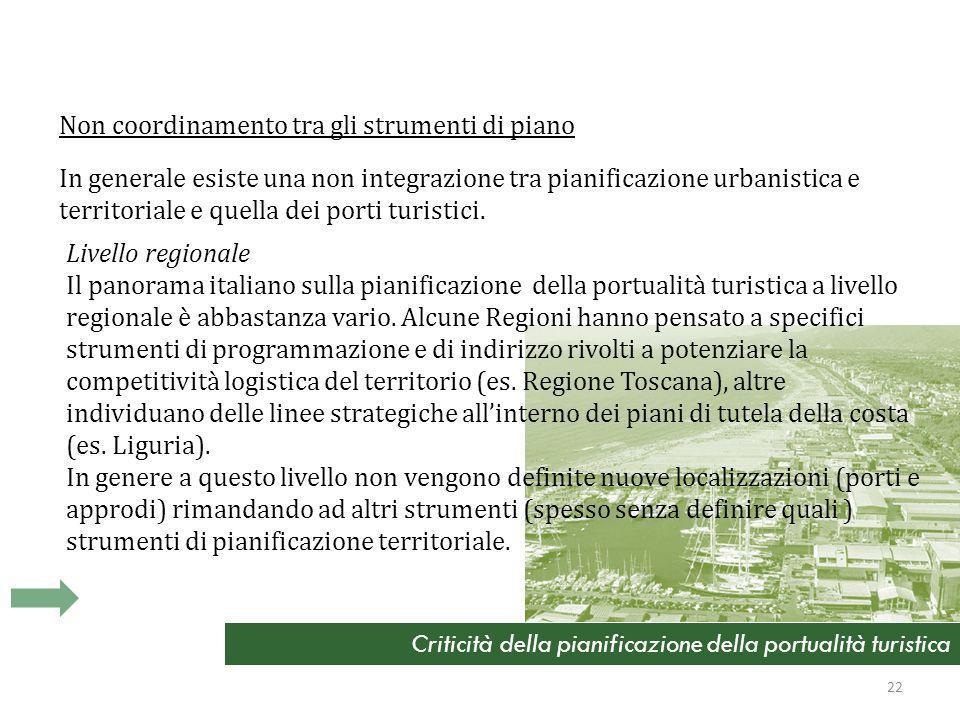 Criticità della pianificazione della portualità turistica Non coordinamento tra gli strumenti di piano In generale esiste una non integrazione tra pianificazione urbanistica e territoriale e quella dei porti turistici.