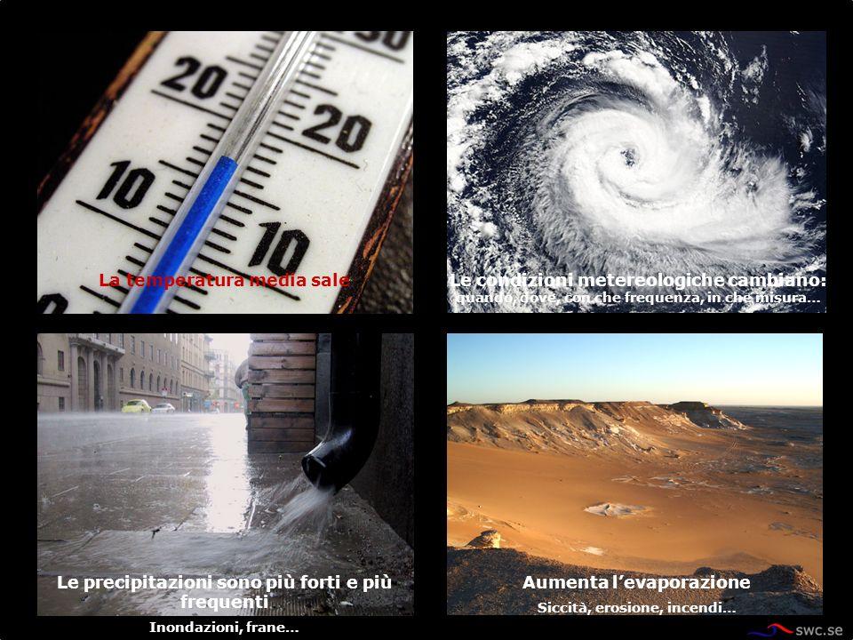 Le condizioni metereologiche cambiano: quando, dove, con che frequenza, in che misura… La temperatura media sale Le precipitazioni sono più forti e pi