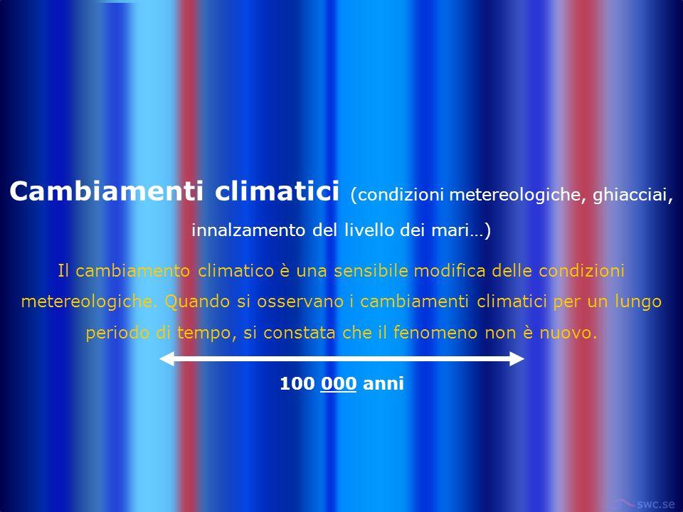 Cambiamenti climatici (condizioni metereologiche, ghiacciai, innalzamento del livello dei mari…) Il cambiamento climatico è una sensibile modifica del