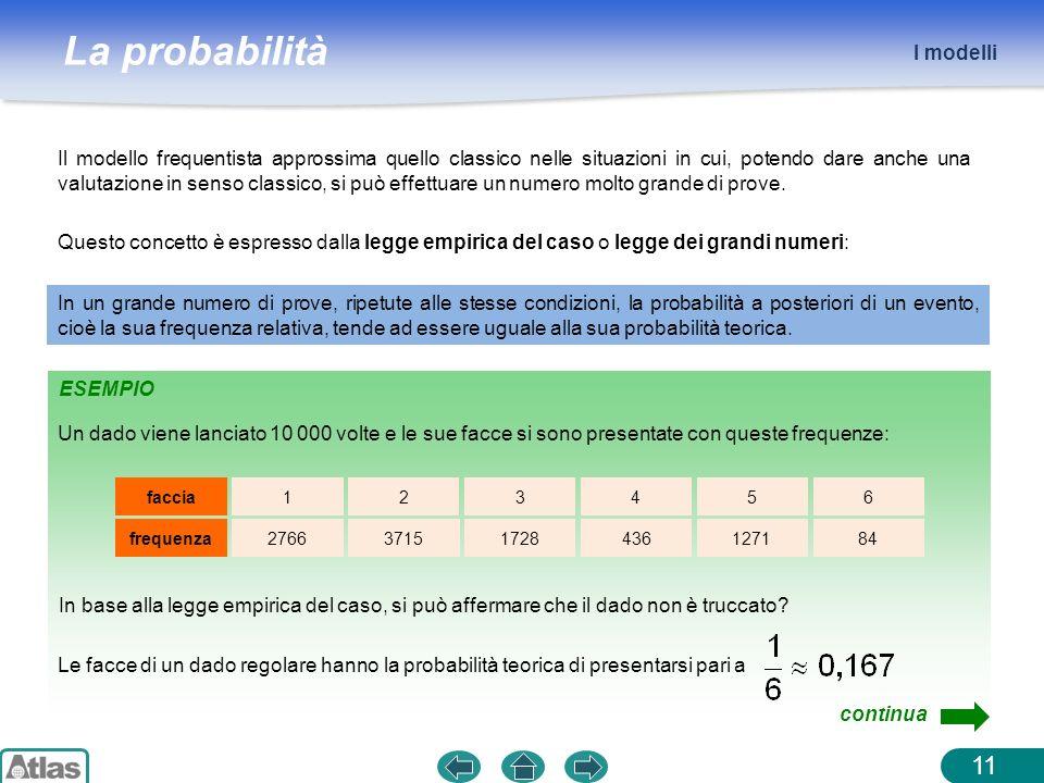 La probabilità ESEMPIO I modelli 11 Il modello frequentista approssima quello classico nelle situazioni in cui, potendo dare anche una valutazione in