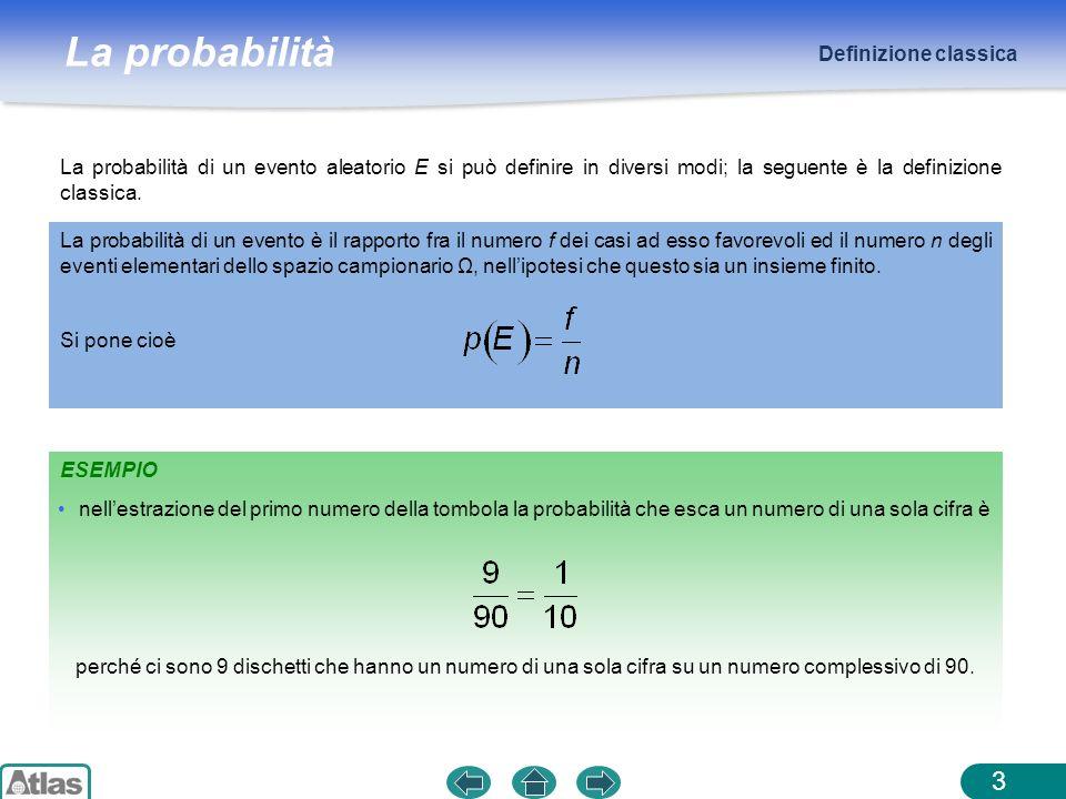 La probabilità ESEMPIO Definizione classica 3 La probabilità di un evento aleatorio E si può definire in diversi modi; la seguente è la definizione cl