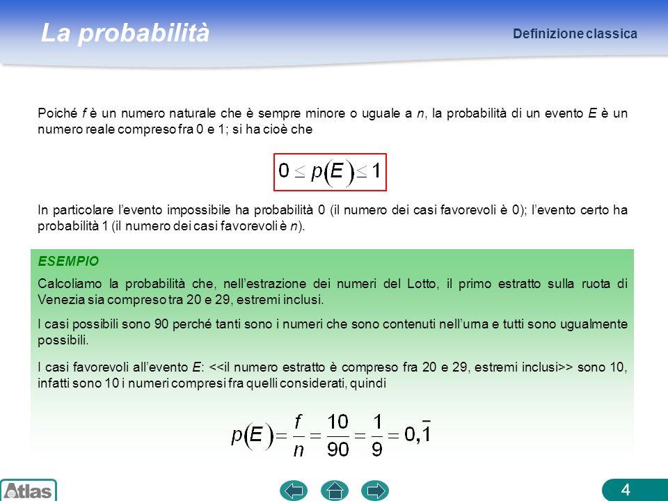 La probabilità Definizione classica 4 Poiché f è un numero naturale che è sempre minore o uguale a n, la probabilità di un evento E è un numero reale