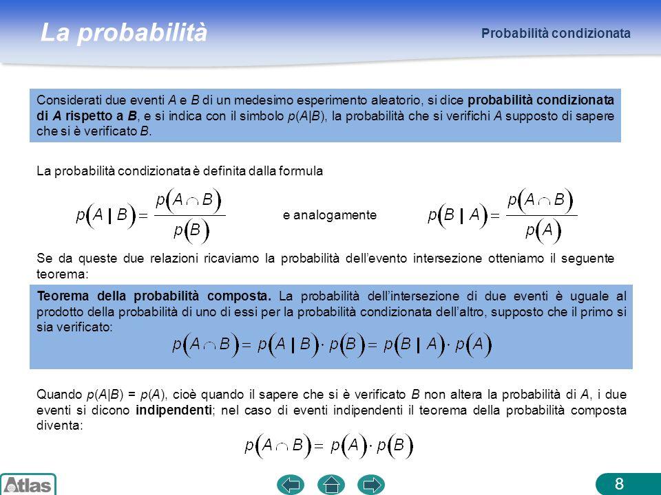 La probabilità Probabilità condizionata 8 Considerati due eventi A e B di un medesimo esperimento aleatorio, si dice probabilità condizionata di A ris