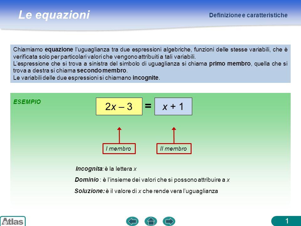 Le equazioni 1 Chiamiamo equazione luguaglianza tra due espressioni algebriche, funzioni delle stesse variabili, che è verificata solo per particolari valori che vengono attribuiti a tali variabili.