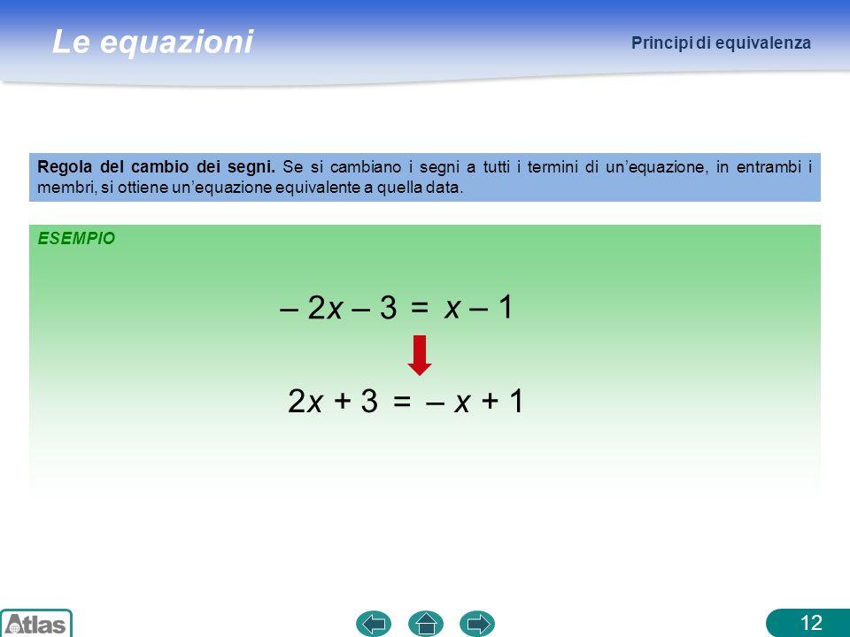 Le equazioni ESEMPIO Principi di equivalenza Regola del cambio dei segni. Se si cambiano i segni a tutti i termini di unequazione, in entrambi i membr