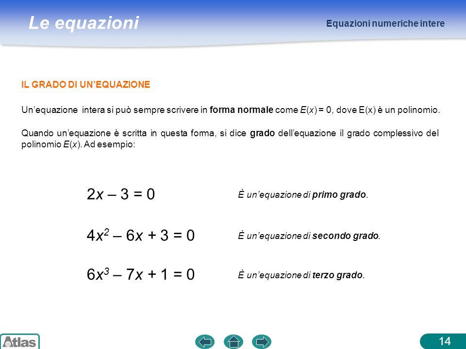 Le equazioni IL GRADO DI UNEQUAZIONE Equazioni numeriche intere Unequazione intera si può sempre scrivere in forma normale come E(x) = 0, dove E(x) è un polinomio.