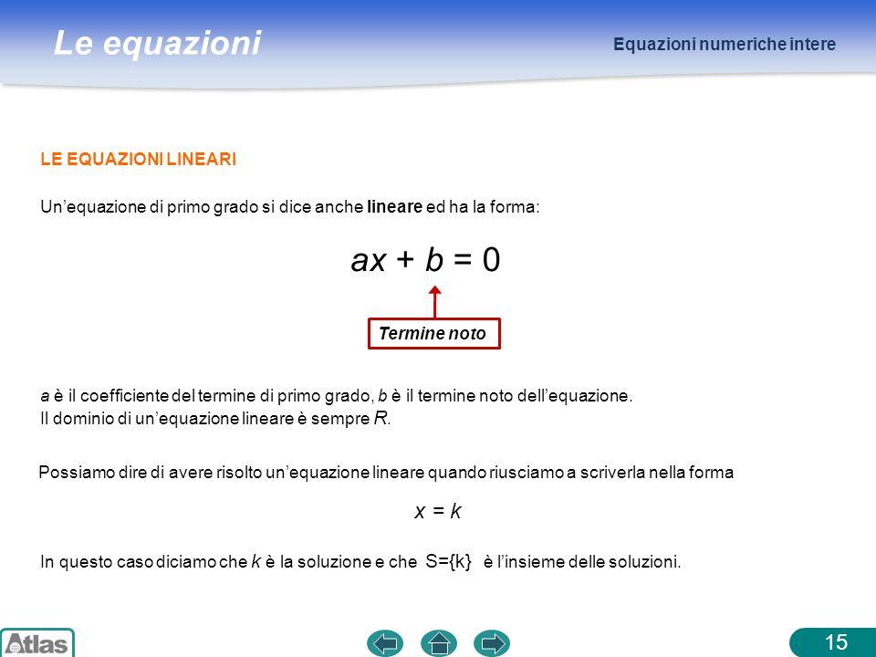 Le equazioni LE EQUAZIONI LINEARI Equazioni numeriche intere Unequazione di primo grado si dice anche lineare ed ha la forma: ax + b = 0 Termine noto
