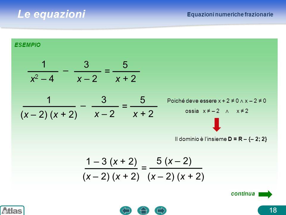 Le equazioni Equazioni numeriche frazionarie ESEMPIO 1 x 2 – 4 – 3 x – 2 = 5 x + 2 1 (x – 2) (x + 2) – 3 x – 2 = 5 x + 2 1 – 3 (x + 2) (x – 2) (x + 2) = 5 (x – 2) continua Poiché deve essere x + 2 0 x – 2 0 ossia x – 2 x 2 Il dominio è linsieme D = R – {– 2; 2} 18