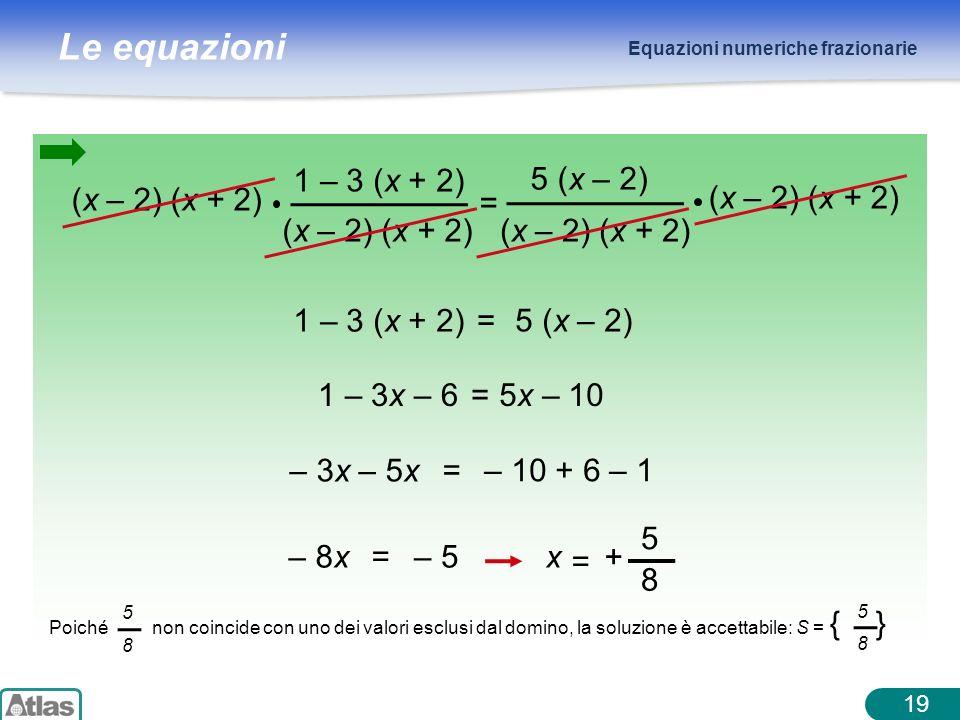 Le equazioni Equazioni numeriche frazionarie 1 – 3 (x + 2) (x – 2) (x + 2) = 5 (x – 2) 1 – 3 (x + 2) =5 (x – 2) 1 – 3x – 6=5x – 10 – 3x – 5x =– 10 + 6