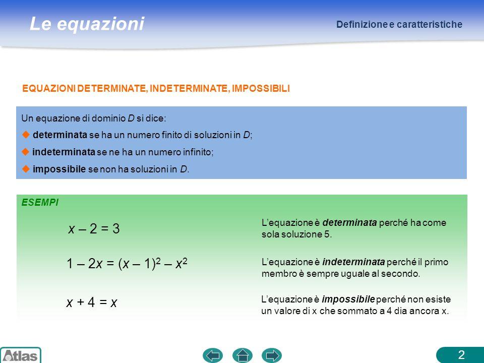 Le equazioni x – 2 = 3 Lequazione è determinata perché ha come sola soluzione 5. EQUAZIONI DETERMINATE, INDETERMINATE, IMPOSSIBILI 1 – 2x = (x – 1) 2