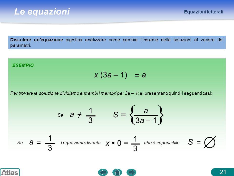 Le equazioni ESEMPIO Equazioni letterali Discutere unequazione significa analizzare come cambia linsieme delle soluzioni al variare dei parametri.