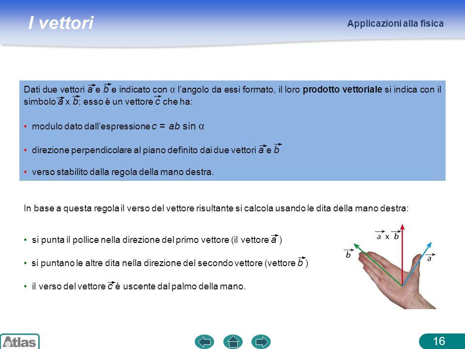 I vettori Applicazioni alla fisica 16 Dati due vettori a e b e indicato con α langolo da essi formato, il loro prodotto vettoriale si indica con il si