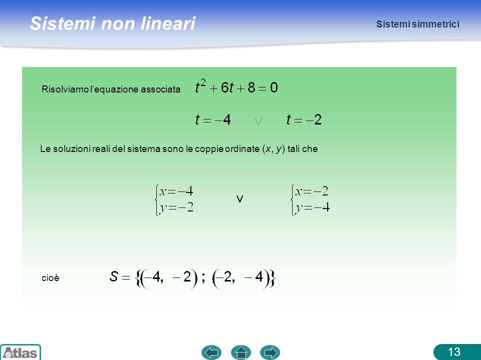 Sistemi non lineari Sistemi simmetrici 13 Risolviamo lequazione associata Le soluzioni reali del sistema sono le coppie ordinate (x, y) tali che cioè