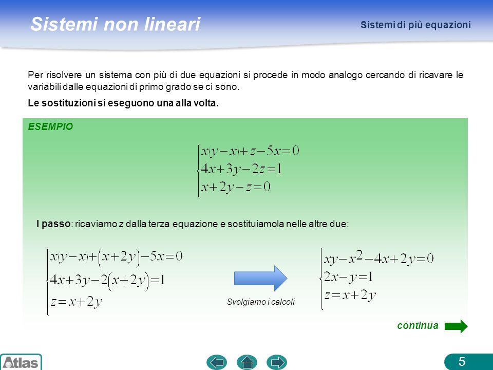 Sistemi non lineari Sistemi di più equazioni 5 Per risolvere un sistema con più di due equazioni si procede in modo analogo cercando di ricavare le va