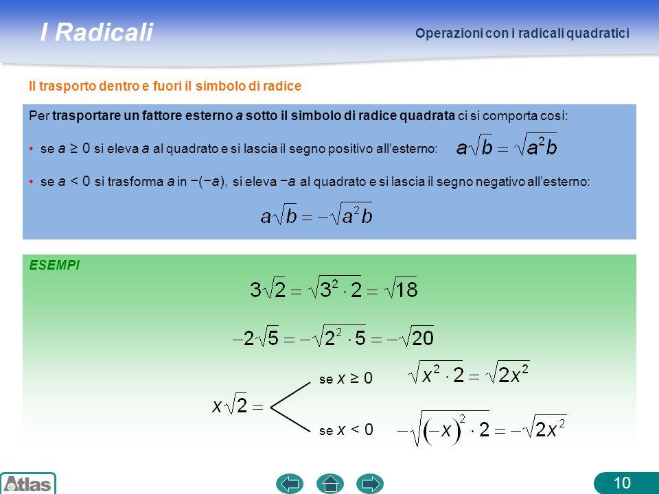 I Radicali Operazioni con i radicali quadratici 10 ESEMPI Il trasporto dentro e fuori il simbolo di radice Per trasportare un fattore esterno a sotto